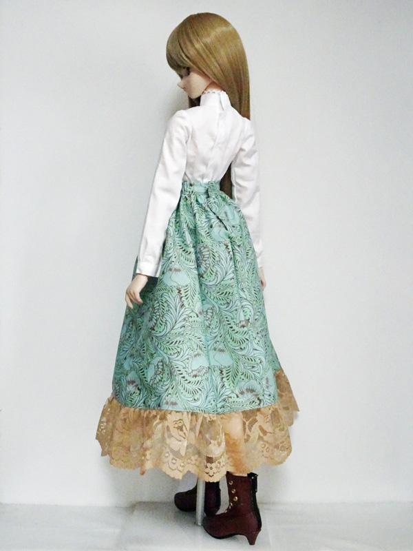 【単品】DD ボタニカルロングスカート(ミントフラワー)