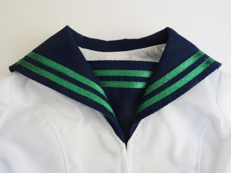 【単品】DD(M.L)/DDdy/スマド(S) 制服ブラウス/胸当て2本ライン(合着/紺&白/緑ライン)