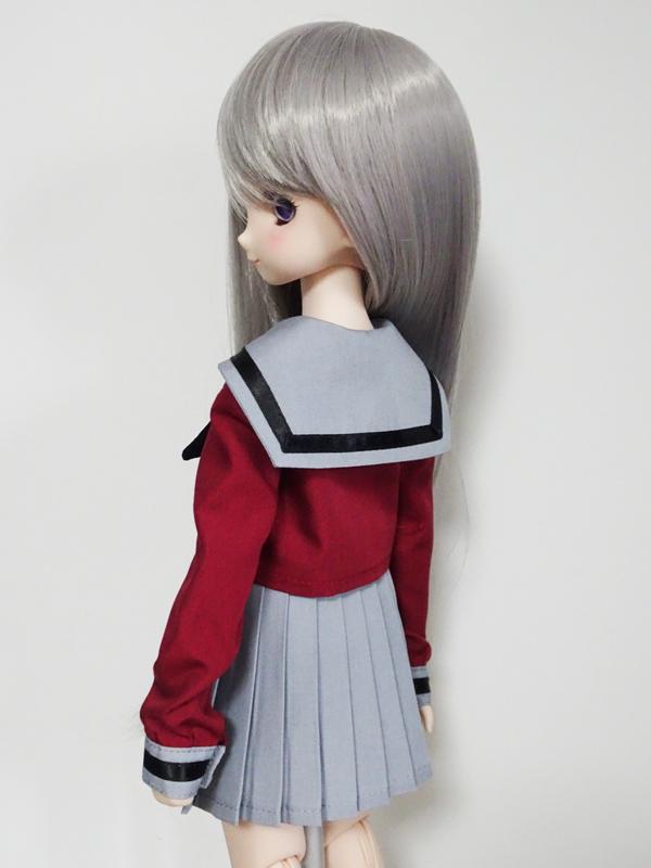MDD/DDP 中等部セーラー服/校則丈(ワイン×グレー襟×黒ライン)