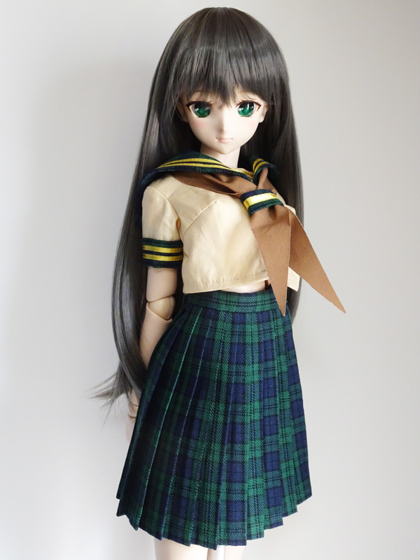 DDS/DD 半袖セーラー服・おへそ丈/校則丈(緑チェック/金ライン/茶リボン)