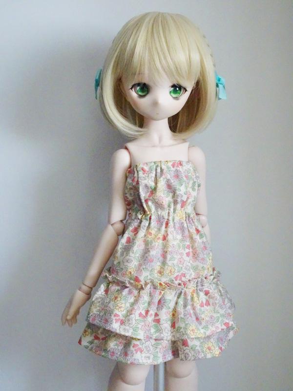 40〜50cmフリーサイズ ベアトップワンピース(ピンクフラワー)
