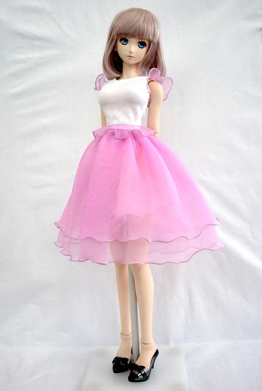 DD(M.L) ふわふわシフォンスカート(ピンク×ホワイト)