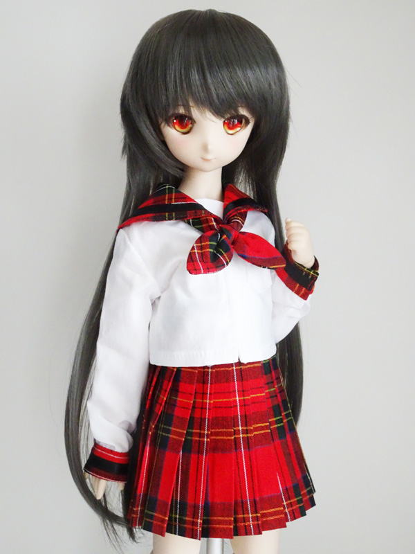 MDD/DDP 中等部セーラー服/校則丈(赤チェック×黒ライン)