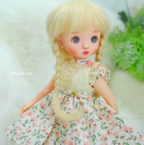 【ハンドメイド/Calvinroot】 春色ワンピース&レースソックスセット(2色) 【BonbonCサイズ】