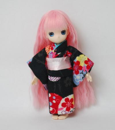 <新柄>【オビツ11cm用】 きせかえお着物 黒まり/ピンク帯(5月発売)/Toshi