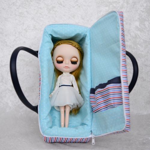 【ハンドメイド】 お人形とおでかけバッグ 【大】  カジュアルストライプ  【まるしぇらぱん】