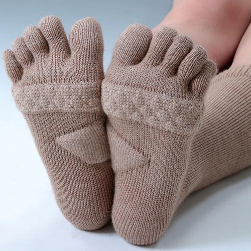 キャメル混・5本指健康靴下