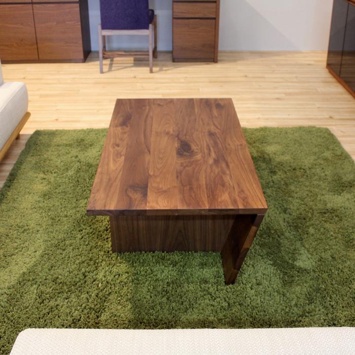 ・【フェイス】リビングテーブル 幅110cm ウォールナット 無垢 ローテーブル