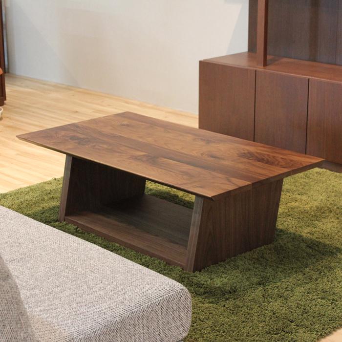 ・【ウィング】リビングテーブル 幅110cm ウォールナット 無垢 ローテーブル