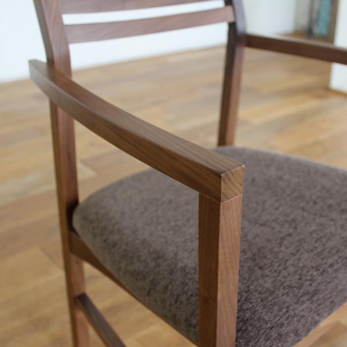 ・【ジェミニ】ダイニングチェア アームタイプ ウォールナット 無垢 食卓椅子