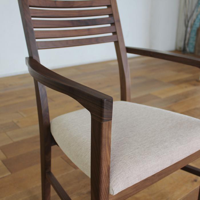 ・【トーラス】ダイニングチェア アームタイプ ウォールナット 無垢 食卓椅子