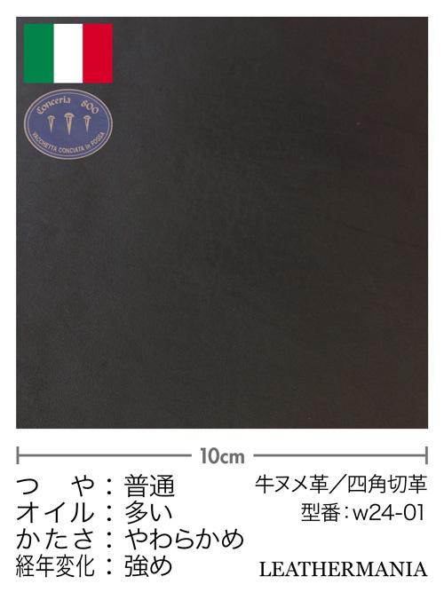 牛ヌメ革【各サイズ】ブルガノ/黒