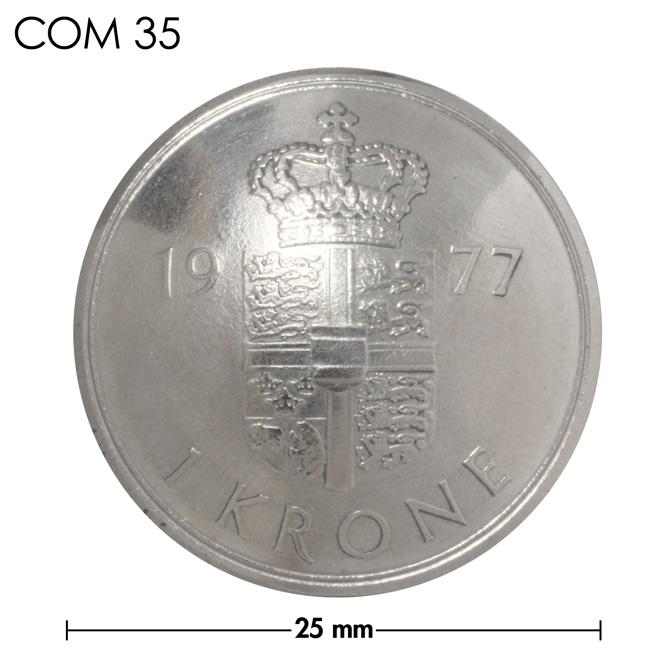 コンチョ/デンマーク/1クローネ/紋章上部/銀色/25mm [ポイント40倍]