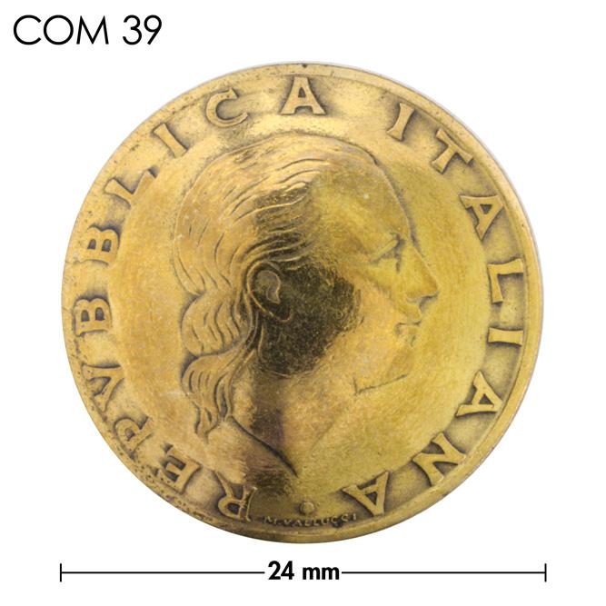 コンチョ/イタリア/200リラ/人物/真鍮色/24mm [30%OFF]