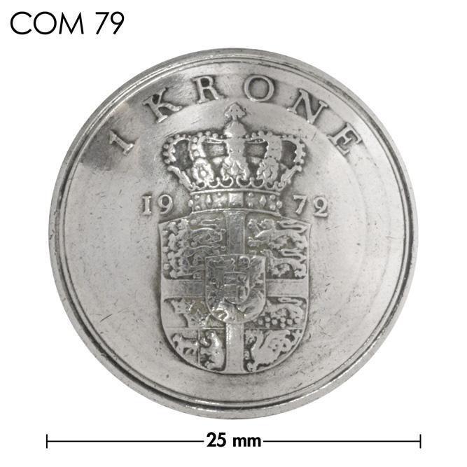 コンチョ/デンマーク/1クローネ/紋章下部/銀色/25mm [30%OFF]