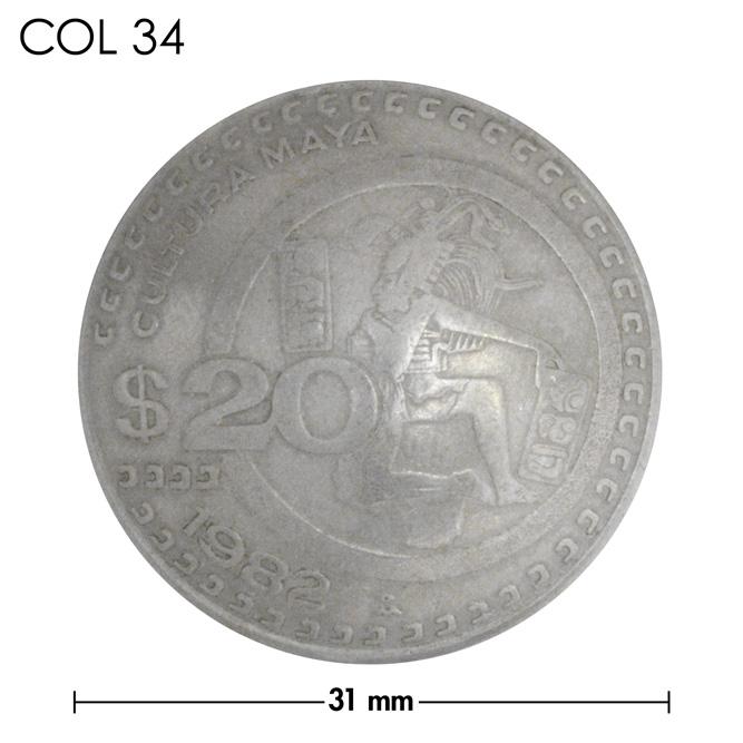 コンチョ/メキシコ/$20/人物/銀色/31mm [30%OFF]