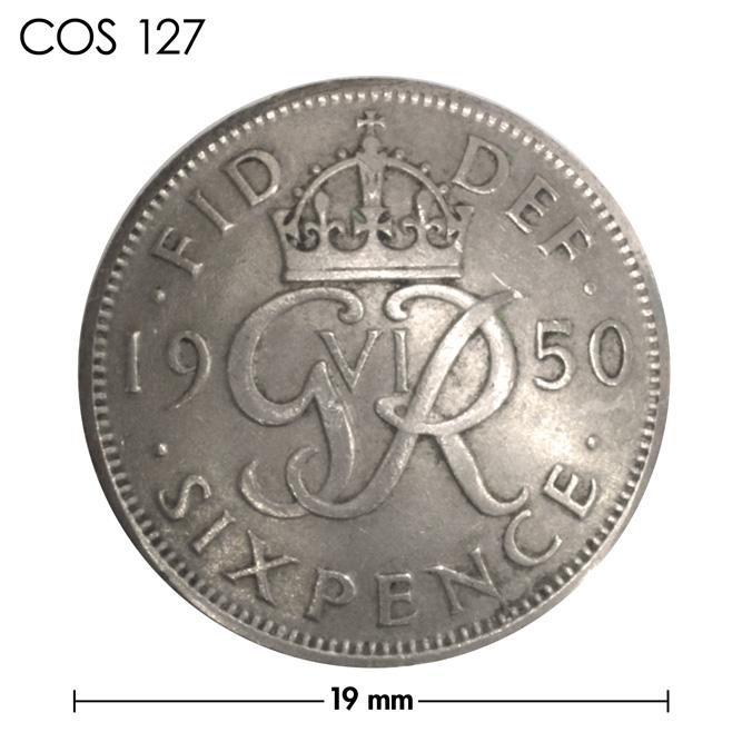 コンチョ/イギリス/6ペンス/王冠(1949年〜1951年)/銀色/19mm