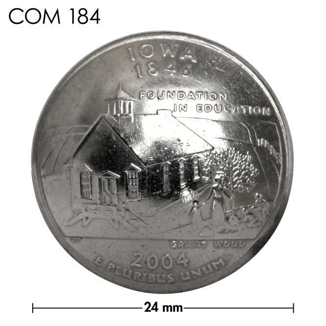 コンチョ/アメリカ/アイオワ州/25セント/校舎/銀色/24mm [ポイント40倍]