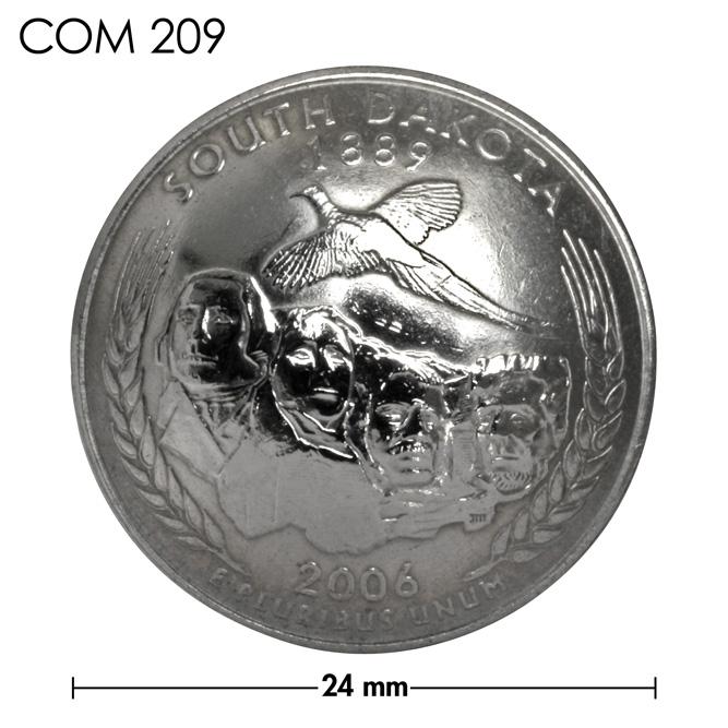 コンチョ/アメリカ/サウスダコタ州/25セント/ラシュモア山/銀色/24mm [ポイント40倍]