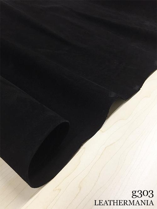 牛革【半裁】キップ/ベロア/1.0〜1.5mm/ブラック [50%OFF]