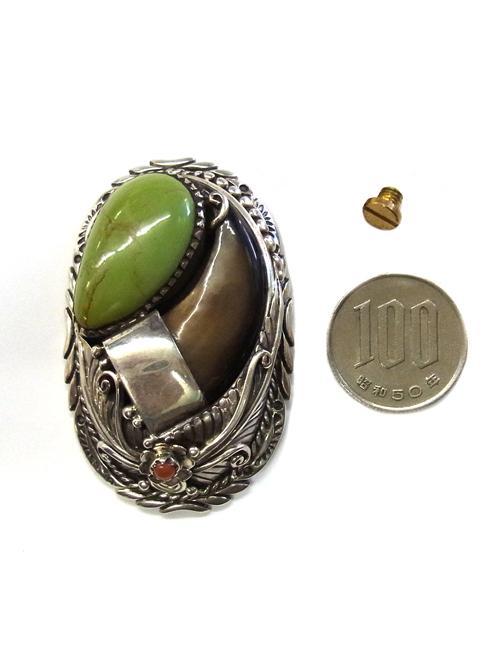 銀製コンチョ/グリーンターコイズ/熊の爪 [silver]