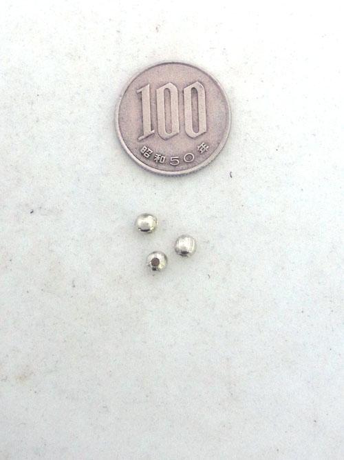 真鍮製ビーズ/銀色/4mm [ポイント40倍]