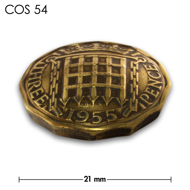 コンチョ/イギリス/3ペンス/真鍮色/21mm [10%OFF]