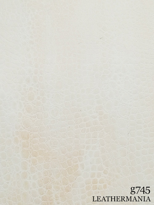 牛革【半裁】型押し(ワニ・丸腑)/1.3mm/ホワイト×ピンク [50%OFF]