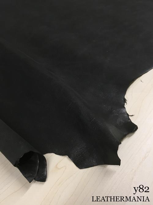 ヤギヌメ革【丸革】両面使い/銀スリ・裏処理加工/1.2mm/ブラック [50%OFF]