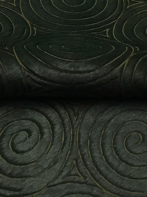 牛毛皮【各サイズ】1.1mm/カッティング・うずまき模様/緑