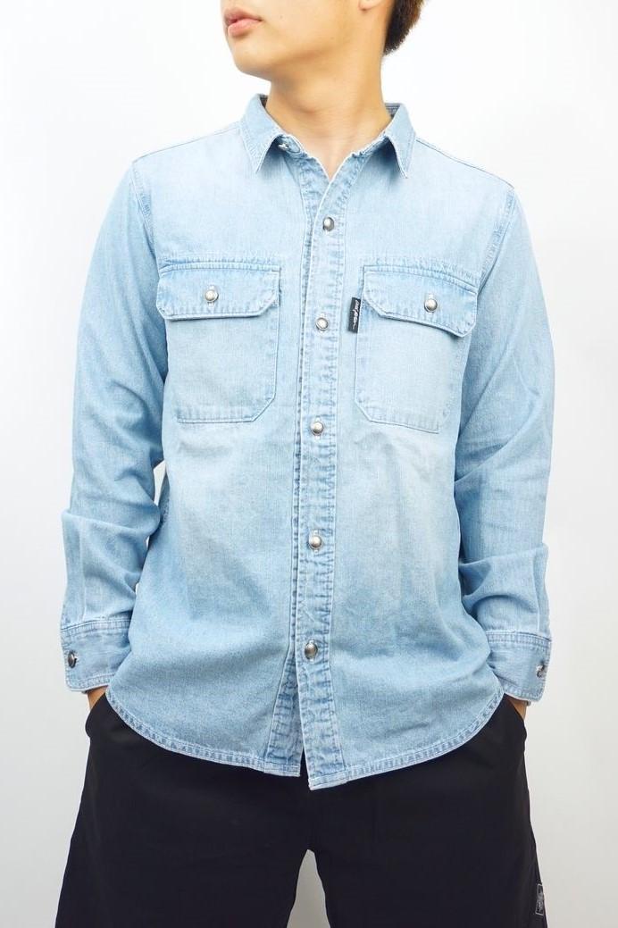 デニムBACK刺繍長袖シャツ