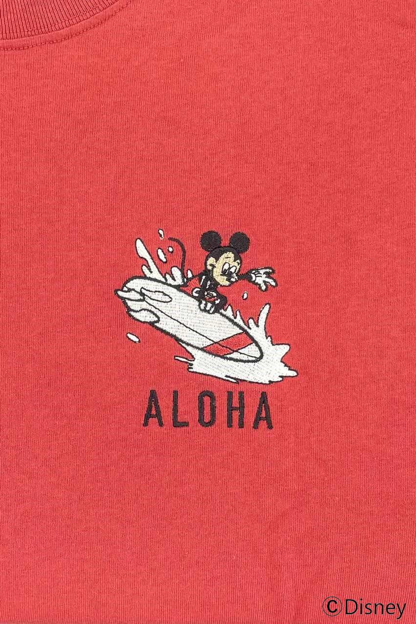 LOCAL MOTION/MICKE ALOHA刺繍L/S TEE