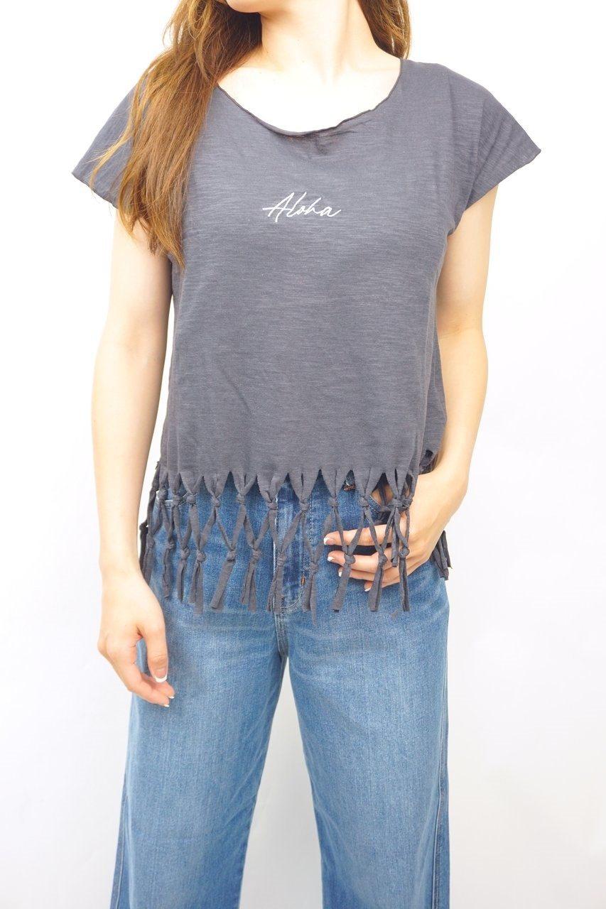 Alohaフリンジ付Tシャツ