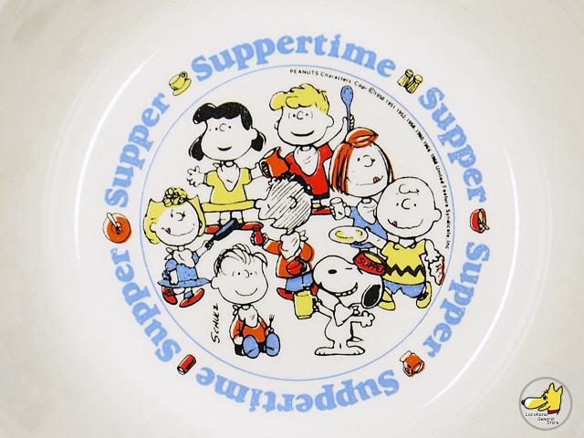"""ビンテージ Anchor  Hocking '70s スヌーピー  """"Suppertime Supper""""  マグ&ボウル セット"""