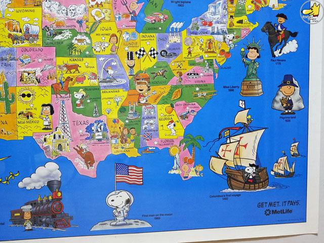 ビンテージ Metlife '92  スヌーピー U.S.A. Map Poster マップポスター