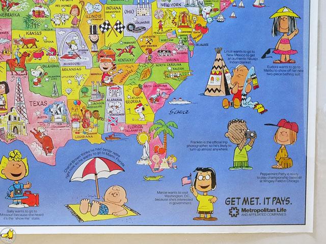 ビンテージ Metlife '70s  スヌーピー U.S.A. Map Poster マップポスター