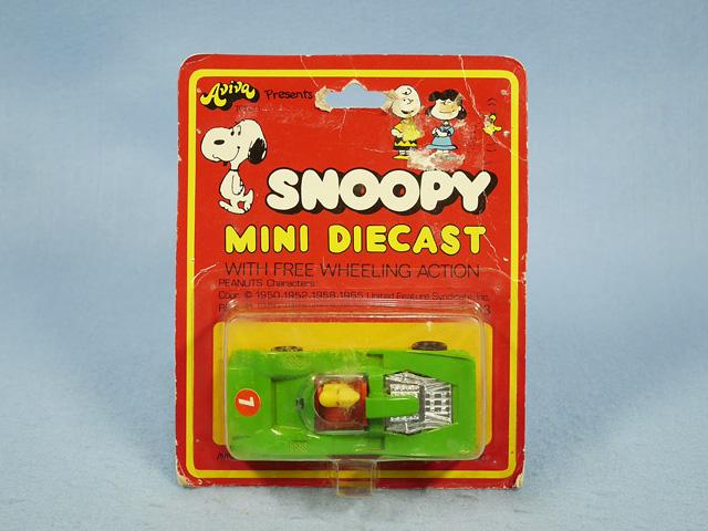 ビンテージ Aviva 1970〜80's スヌーピー Mini Diecast ミニダイキャスト  Woodstock In Racer 新品箱入