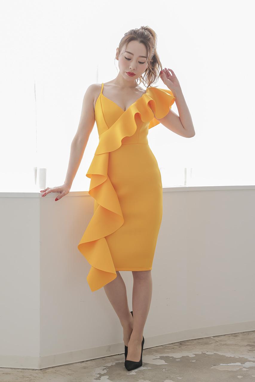 ビッグフリルタイトドレス L05778OR