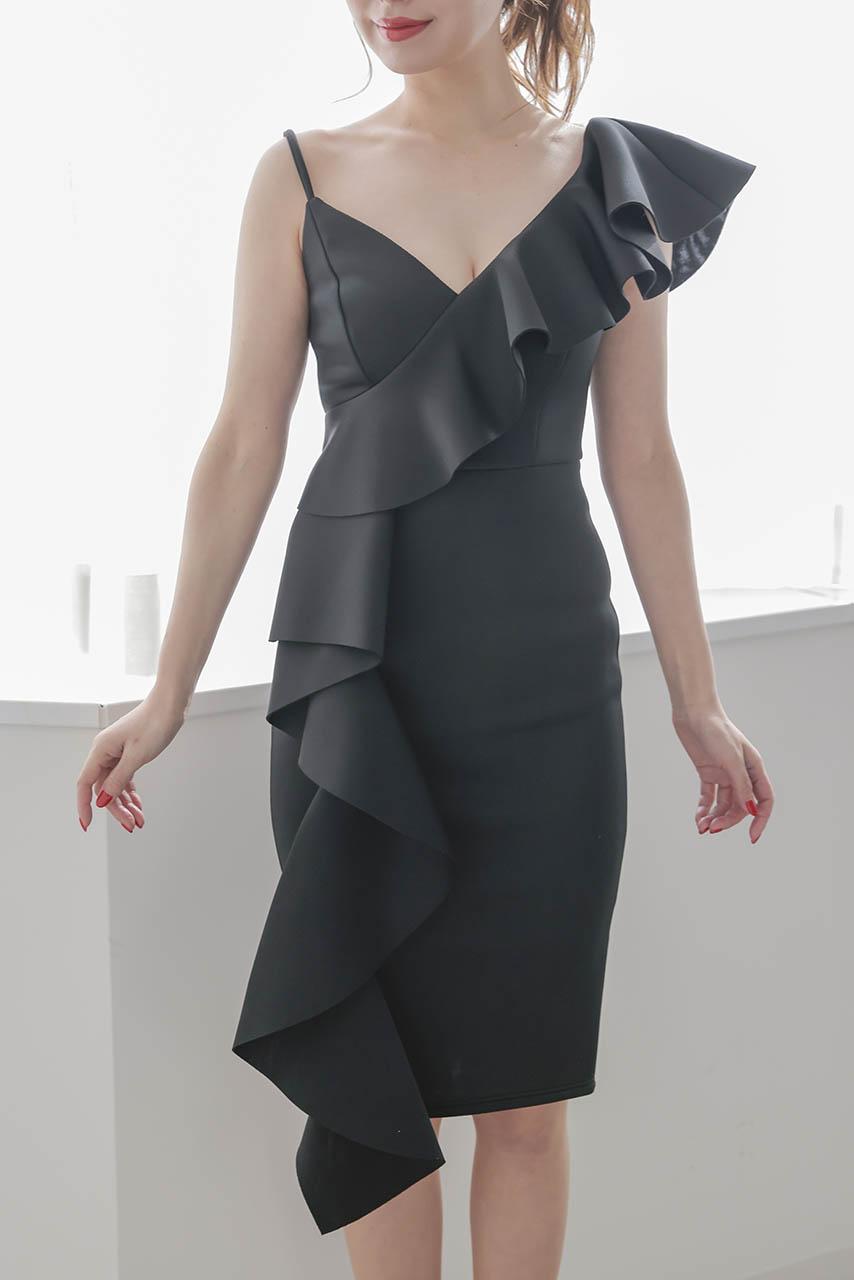 ビッグフリルタイトドレス L05775BK