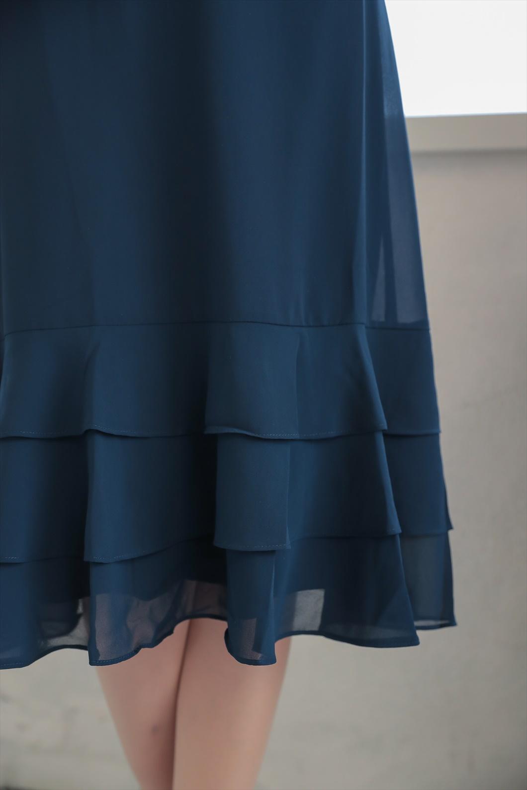 フラワーディテールシアーバックドレス C1139NY