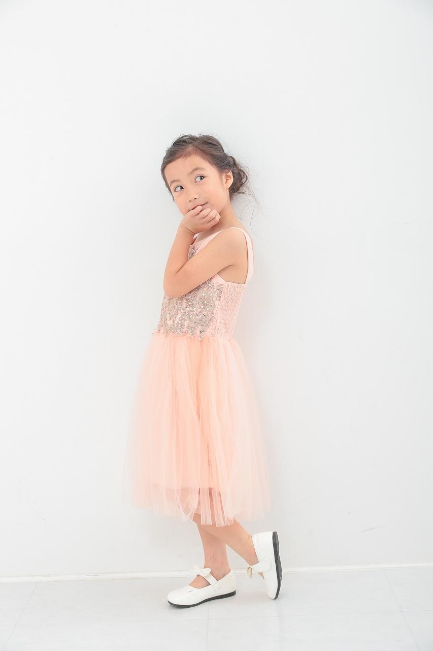 ピンクゴールドスパンメッシュワンピース 5-8歳  LMK31392NP