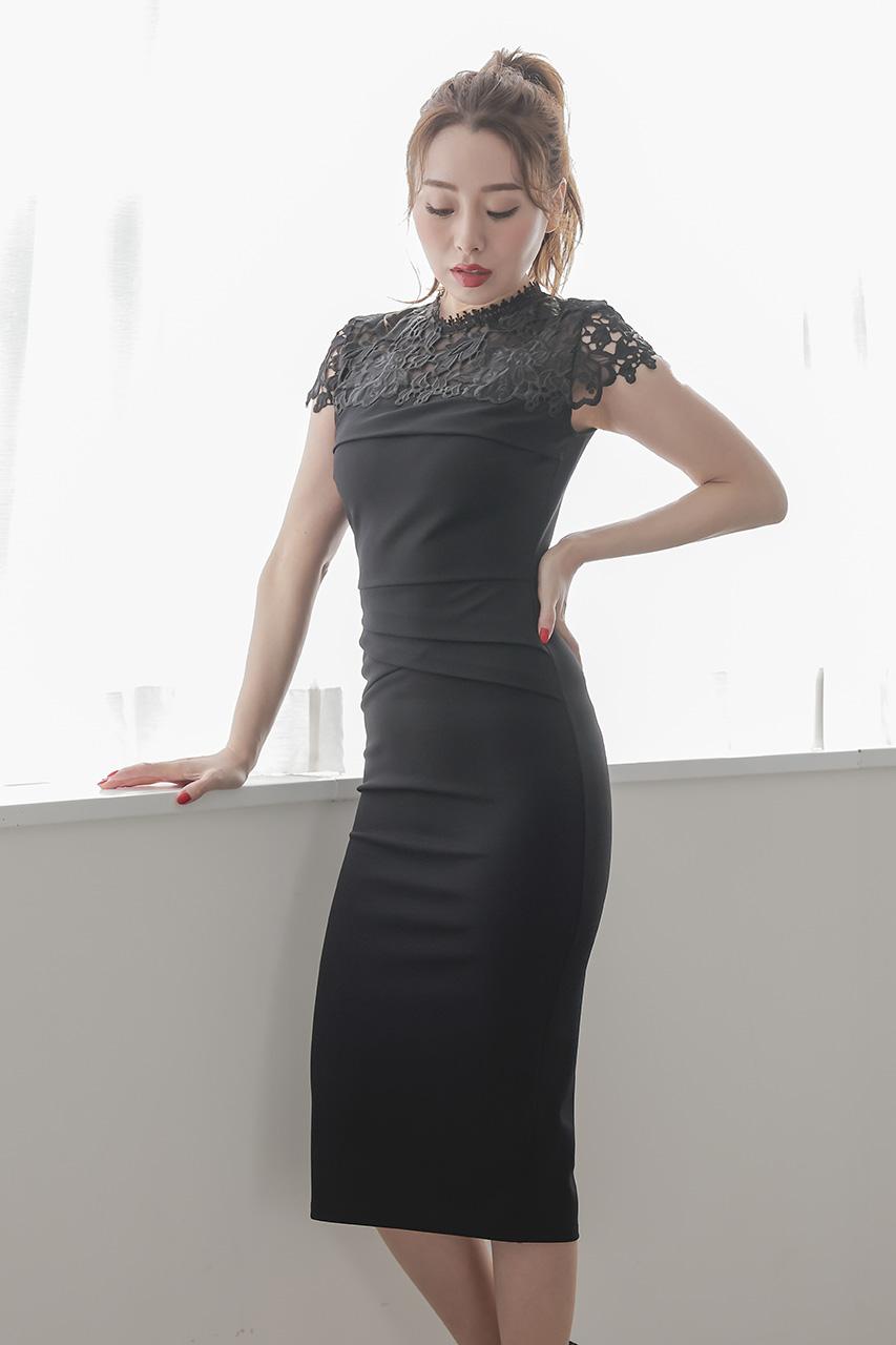 ハイネックレースタイトドレス L05628BK