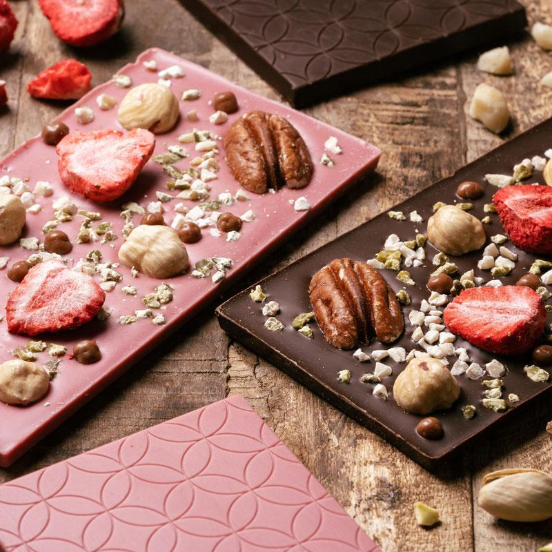 【3周年記念プレゼント付】りゆうトッピングチョコレート(ルビー&ビター)2枚セット・送料無料【食べる理由があるチョコ】