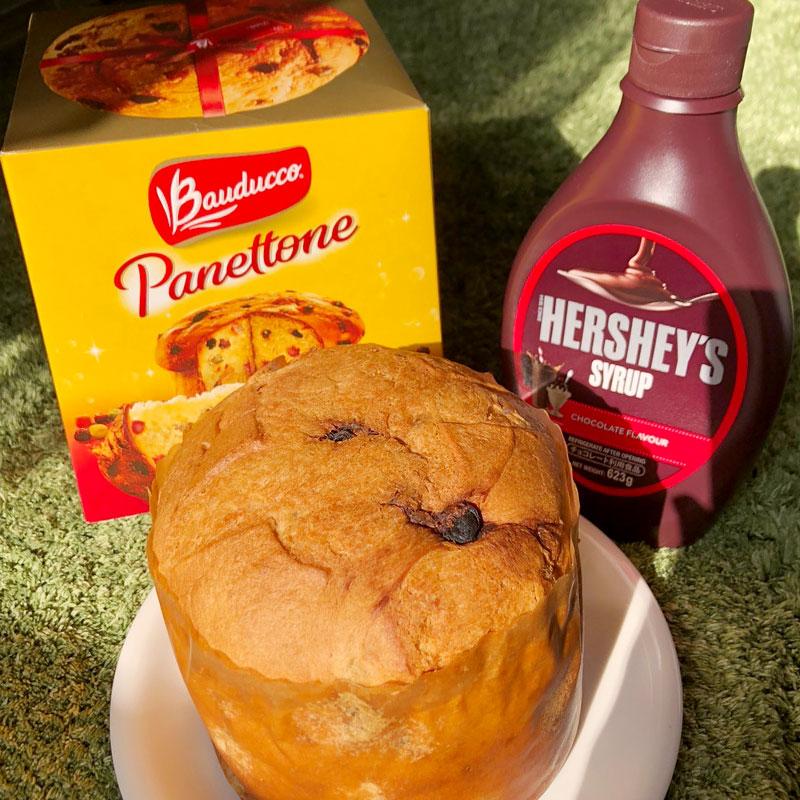 大きなパネトーネ2個とチョコシロップ1本で美味しいアレンジケーキ!【おうちカフェ】