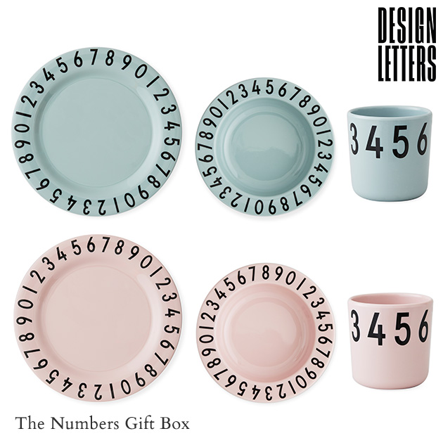 DESIGN LETTERS デザインレターズ The Numbers Gift Box メラミン食器/セット/子供 こども/コップ/皿 深皿/おしゃれ/北欧/食洗機対応/ギフト プレゼント/