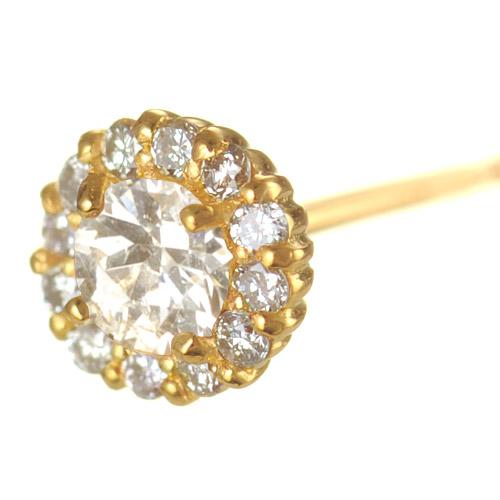 【他商品との同梱不可】 カレン K18 ダイヤモンドピアス cheer K18 diamond pierced earrings cheer /18金/18k/ピアス/シンプル