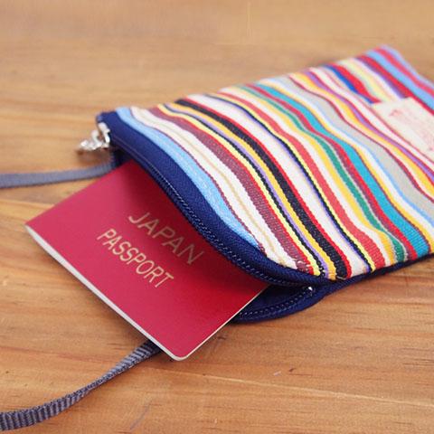 【U213】パスポートケース・ミニポーチショルダー(パルム リーフ アマンド グリ/PALM LEAF Amande Gris)