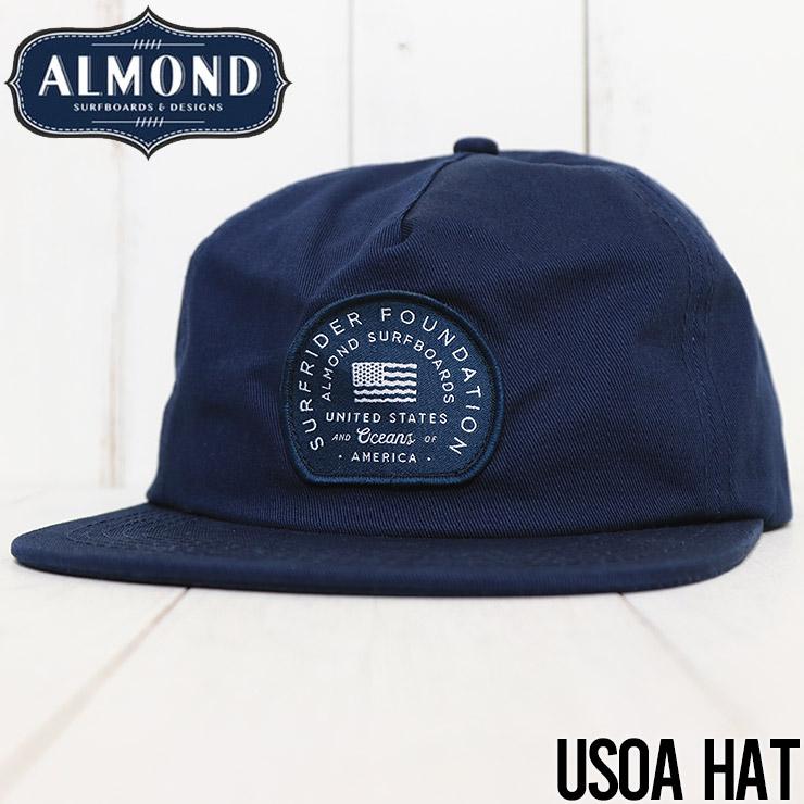 【送料無料】 ALMOND SURF アーモンドサーフ USOA HAT ストラップバックキャップ NAVY
