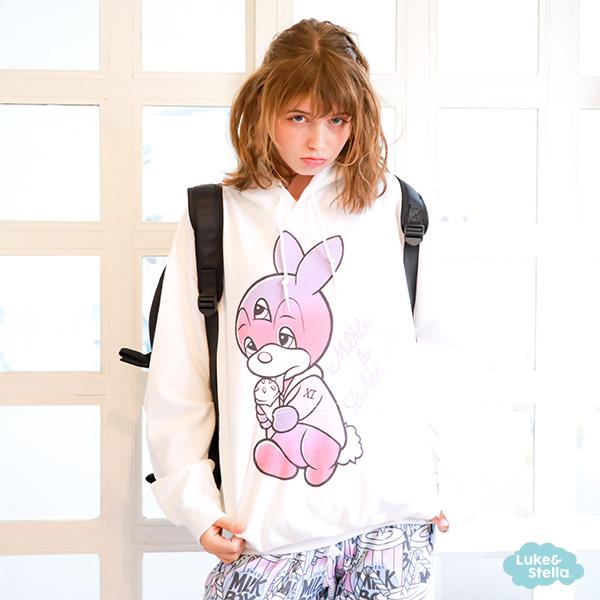 【当店限定】MILKBOY×Luke and Stella 三つ目のミーウ 3rd eyed Bunny BIG HOODIES 11th anniversary model