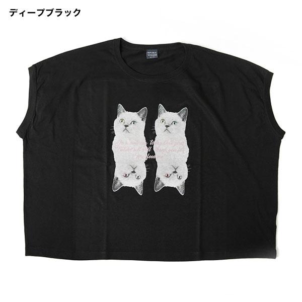 REPUBLIC WONDER(リパブリックワンダー) TWO CATS スリーヴレスワイドTEE
